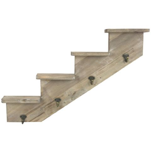 Wooden Stepped Wall or Understairs Shelf & Coat Hooks Right Rise H 38 x W 63cm